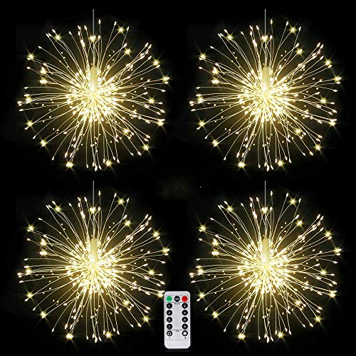 4 packs Firework Lights Copper Wire LED Lights, 8 Modes Dimmable String Fairy Lights with Remote Control, Waterproof Hanging Starburst Lights for Parties,Home,Christmas Outdoor Decoration (Decorations Home Outdoor)