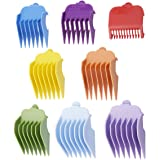"Professional Hair Clippers Guides Combs 8 pack - 1/8"" to 1 for Full Size Standard Adjustable Blade -Compatible with Wahl Clippers/Trimmers #3170-400,Colorful"