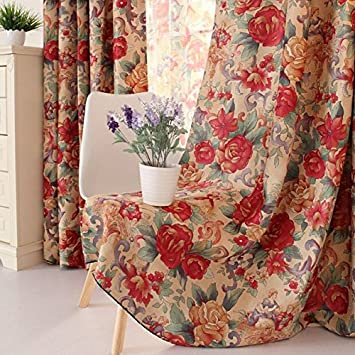 MZPRIDE European Retro Fancy Curtain Shabby Style Flowers Jacquard Window Blinds Home Choice Blackout Curtains For