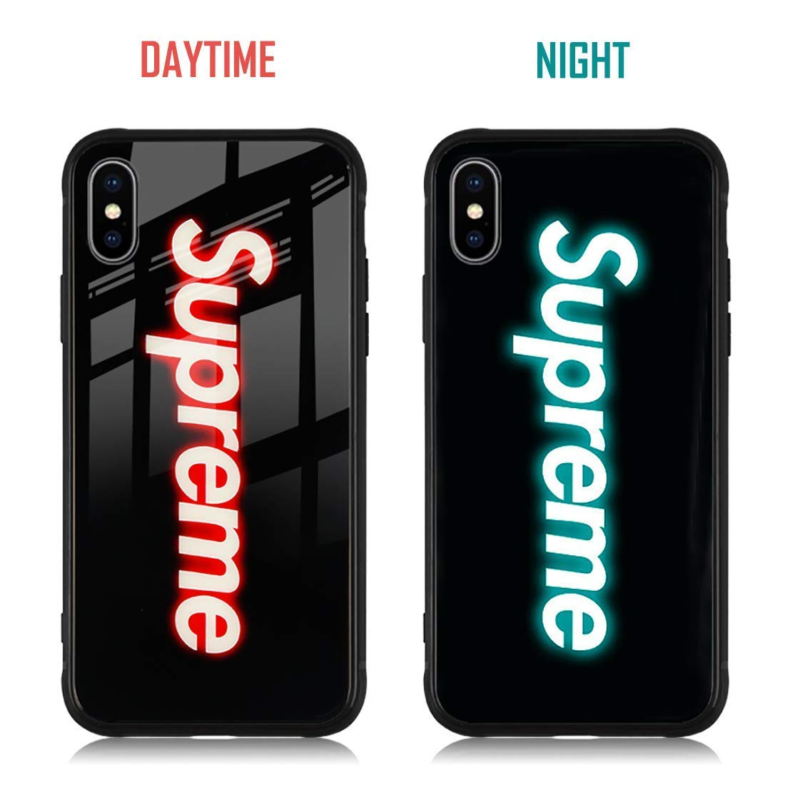 7307e0939472d Super Sup Supre Sumpre Luminous Fashion Luxury Tempered Glass Hybrid Case  iPhone X 7 8 6 6s Plus XS XR XS MAX (iPhone XR)