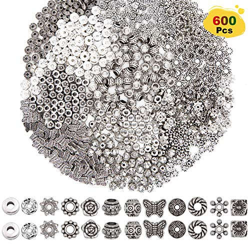 (EuTengHao 600 Pcs 12 Style Silver Spacer Beads Jewelry Bead Charm Spacers Alloy Spacer Beads for Jewelry Making DIY Bracelets Necklace and Crafting Accessories Pendants)