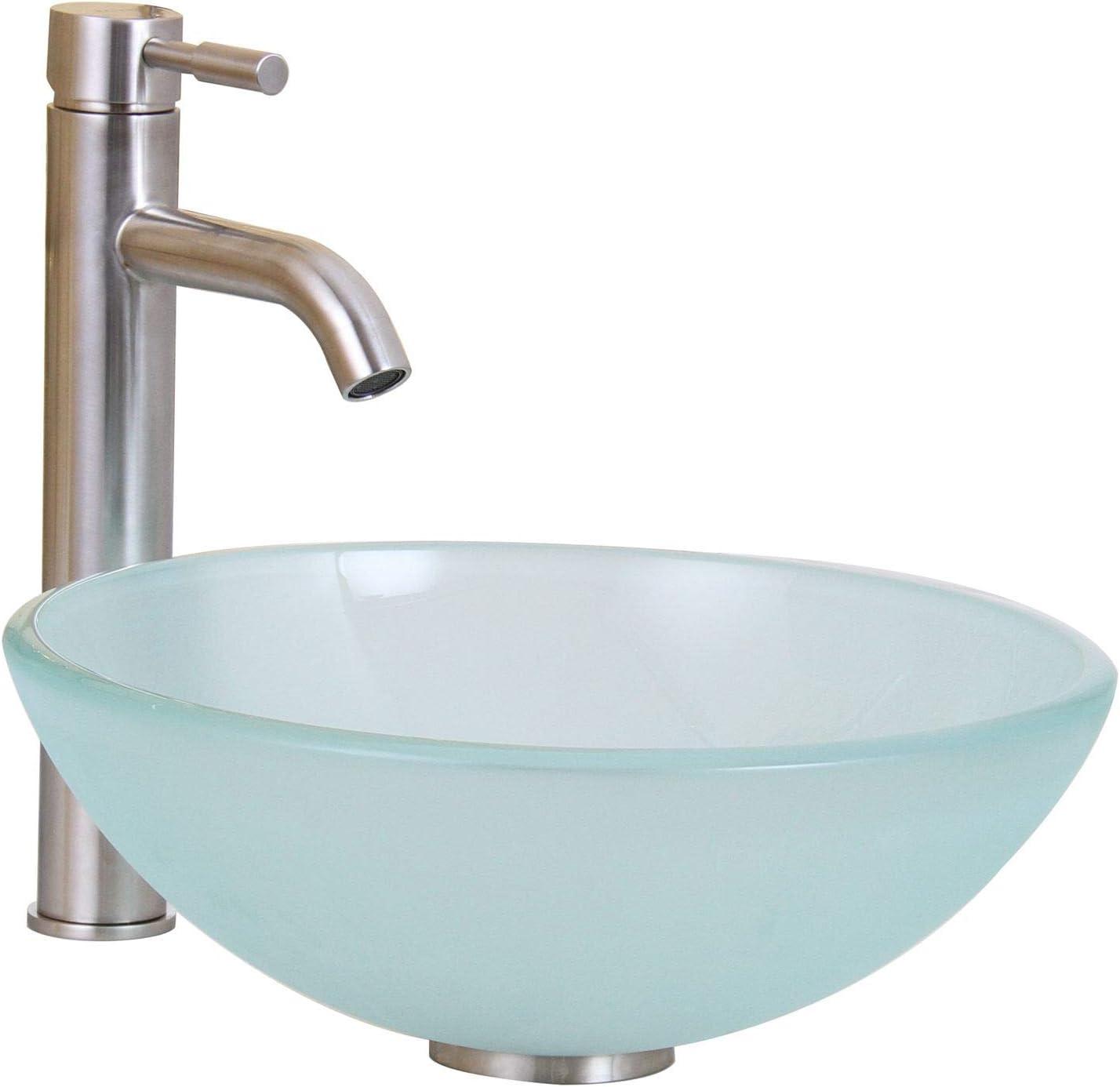 ELITE Tempered Bathroom 14 Frosted Glass Vessel Sink Brushed Nickel Faucet