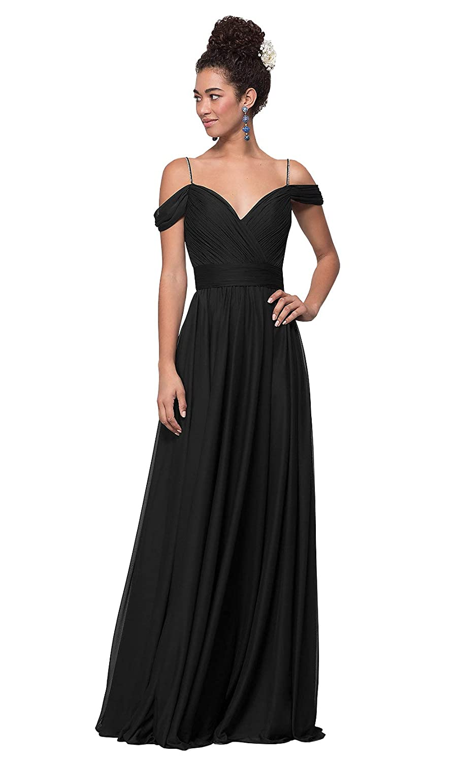 8e93e0250df Lianai Women s Off The Shoulder Chiffon Bridesmaid Dress with Beaded Straps  Formal Gown at Amazon Women s Clothing store