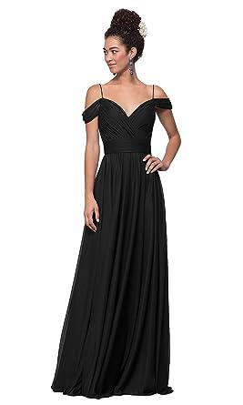 5b96ff13dbb Lianai Women s V-Neck Cold Shouluder Formal Evening Dress Chiffon Wedding  Guest Dress Black