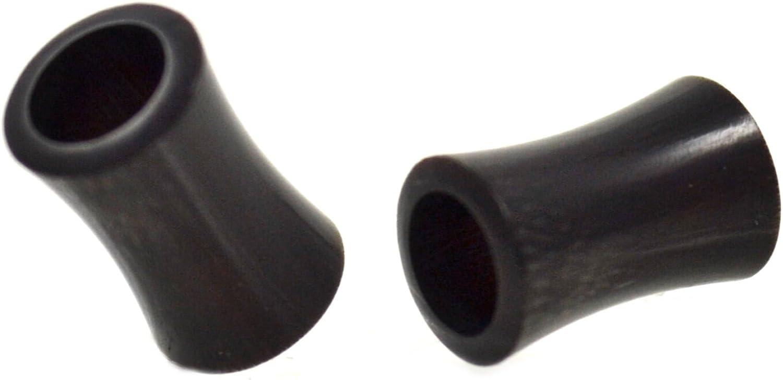 Pair (2) Organic Buffalo Horn Ear Plugs Hollow Black Tunnels - 4G 5MM