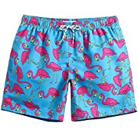 maamgic Mens Quick Dry Stretch Short Boardshorts Flamingo Swim Trunks