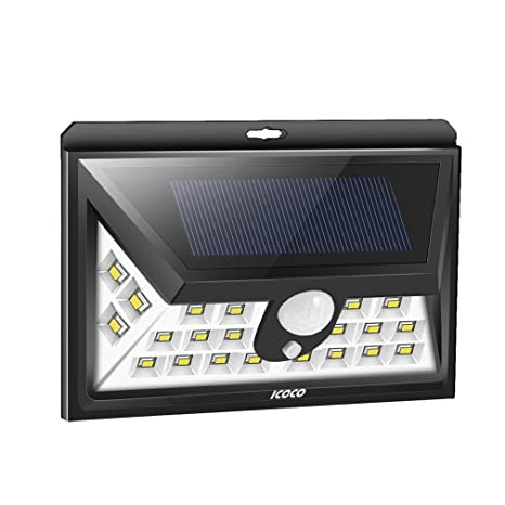 Luz solar 24 LED Impermeable ICOCO, Foco solar 2000mAh 526lm IP65 270°ángulo de