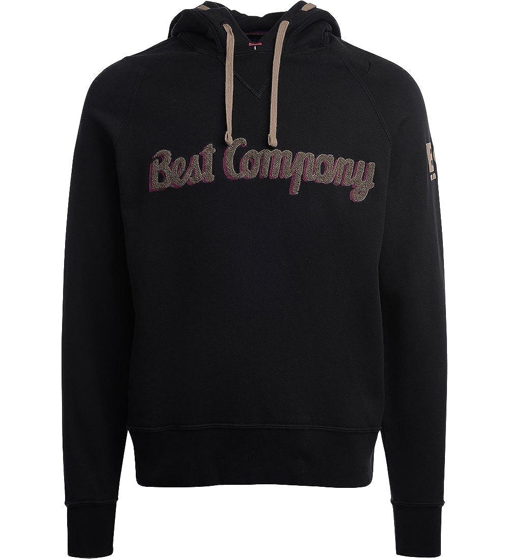 Best Company Sweater mit Kapuze in Baumwolle Schwarz und Fango