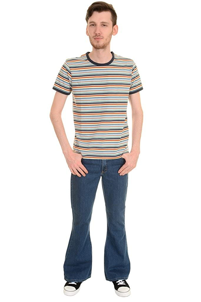 1960s – 70s Mens Shirts- Disco Shirts, Hippie Shirts  Multi Striped Ringer T Shirt Run & Fly Mens 60s 70s Retro £16.99 AT vintagedancer.com