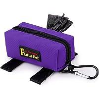 PLUTUS PET Dog Poop Bag Holder Includes 1 Roll Dog Waste Bags,Dog Poop Bag Dispenser Fits Any Dog Leash,Purple