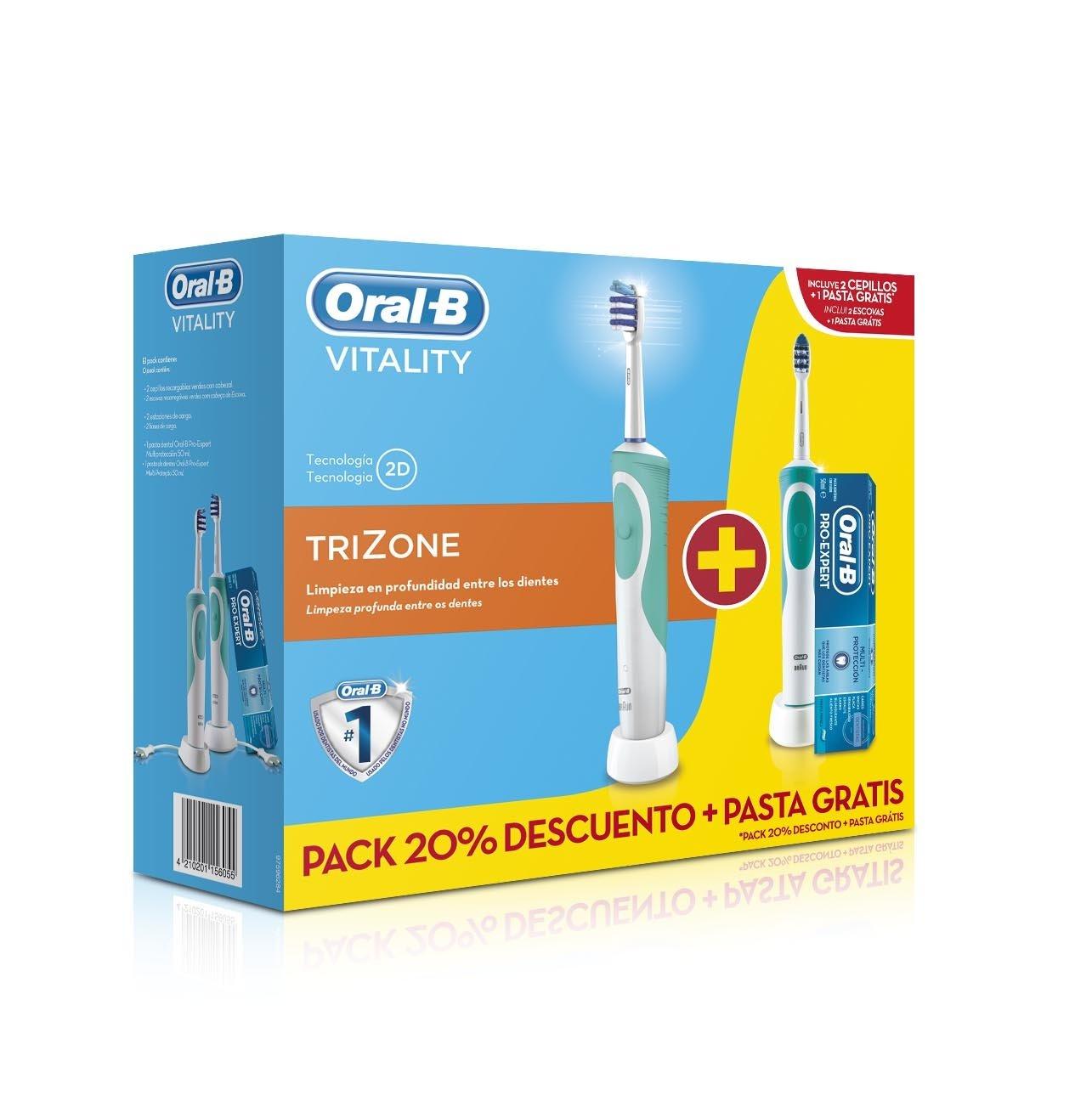 Amazon.com: Oral-B Cepillo De Dientes Eléctrico Oral-B Vitality Plus TriZone 2 Unidades: Beauty