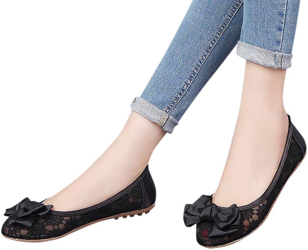 Bequeme Slip-Ons Halbschuhe Slippers TUDUZ Damen Geschlossene Ballerinas Flache Freizeitschuhe Mesh Hohl Sommer Elegant Sandalen Bootsschuhe