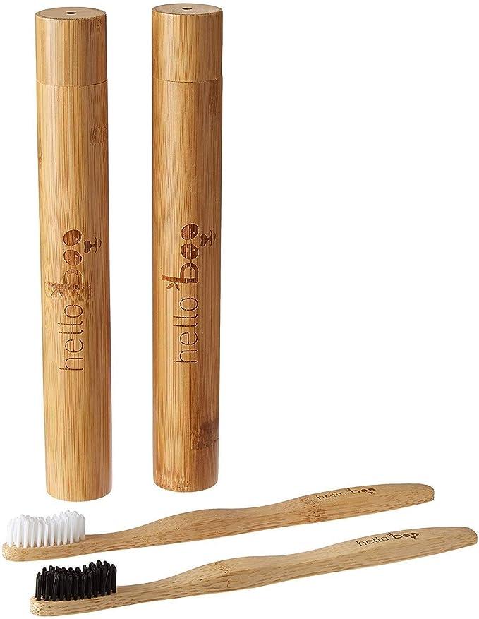 Juego de cepillos de dientes de bambú con estuche de viaje | Pack de 2 juegos de cepillos de dientes biodegradables | Bambú Moso ecológico ecológico con asas ergonómicas y cerdas de