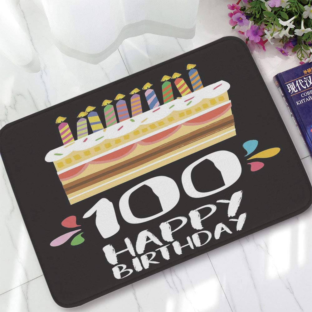 YOLIYANA Water Absorption Non-Slip Mat,100th Birthday Decorations,for Corridor Study Room Bathroom,15.75''x23.62'',Old Legacy 100 Birthday Party Cake