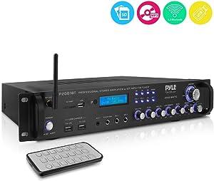 Multi Channel Bluetooth Preamplifier Receiver - 2000 Watt Audio Home Speaker Sound Stereo Receiver W/Radio, USB, Headphone, Aux, RCA, Dual Microphone W/Echo, Led, Wireless Streaming - Pyle P2001BT