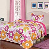 Fancy Collection Twin Size 2pc Quilted Bedspread Set Girls Floral Butterfly Light Pink Hot Pink Orange Light Green White Brown New # Flowers 18-01