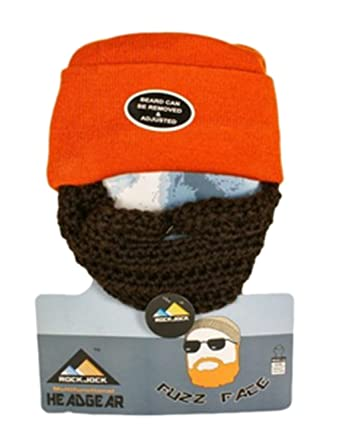 d56965e8d96 Official Rock Jock Fuzz Face Beard Beanie Hat - Bearded Beanie Hat -  Several Colours Available (Orange)  Amazon.co.uk  Clothing