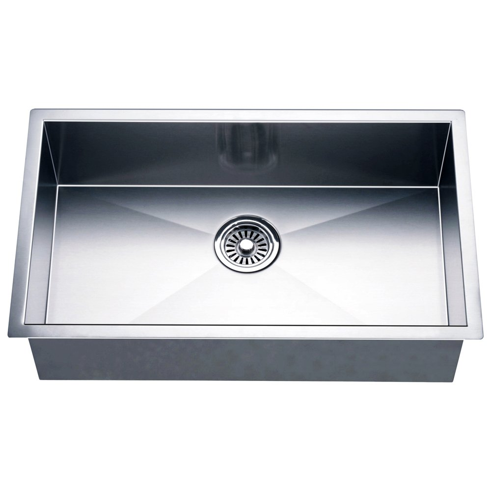 Dawn DSQ241609 Undermount Single Bowl Square Sink, Polished Satin ...