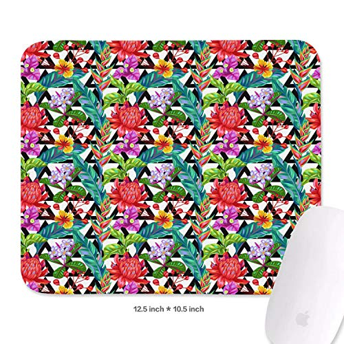 (Cool Seamless with Thailand Flower Tropical Mouse Pad Natural Rubber Excellent Cloth Mousepad Stable No Slip Easy to Clean Office Home Computer Laptop Textured Rectangle Gaming 270X320 Mm Mouse Mat)