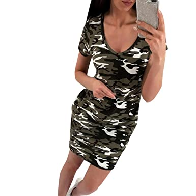 a4fd4113afefb Amazon.com: Mini Dress, Kimloog Women Camouflage V-Neck Summer Short Sleeve  Casual T-Shirt Dress: Clothing