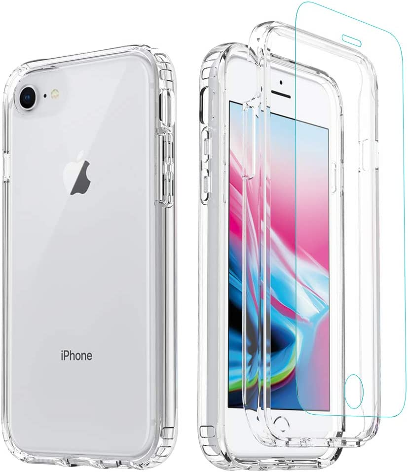 iPhone 8/ SE 2020 Case,iPhone 7 Clear Case,[Tempered Glass Screen Protector] Misscase Full Body Protective Shockproof Hard Plastic & Soft TPU Case for iPhone 8/7 (4.7 inch) Clear