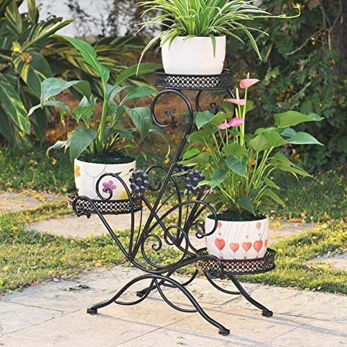 Tiered Contemporary Urban Garden: AISHN 3-Tiered Scroll Classic Plant Stand Decorative Metal
