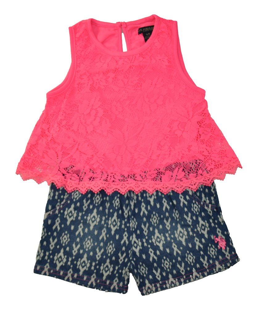 U.S. Polo Assn. Big Girls' Tank Top and Denim Bottom Romper, Neon Pink, 7/8