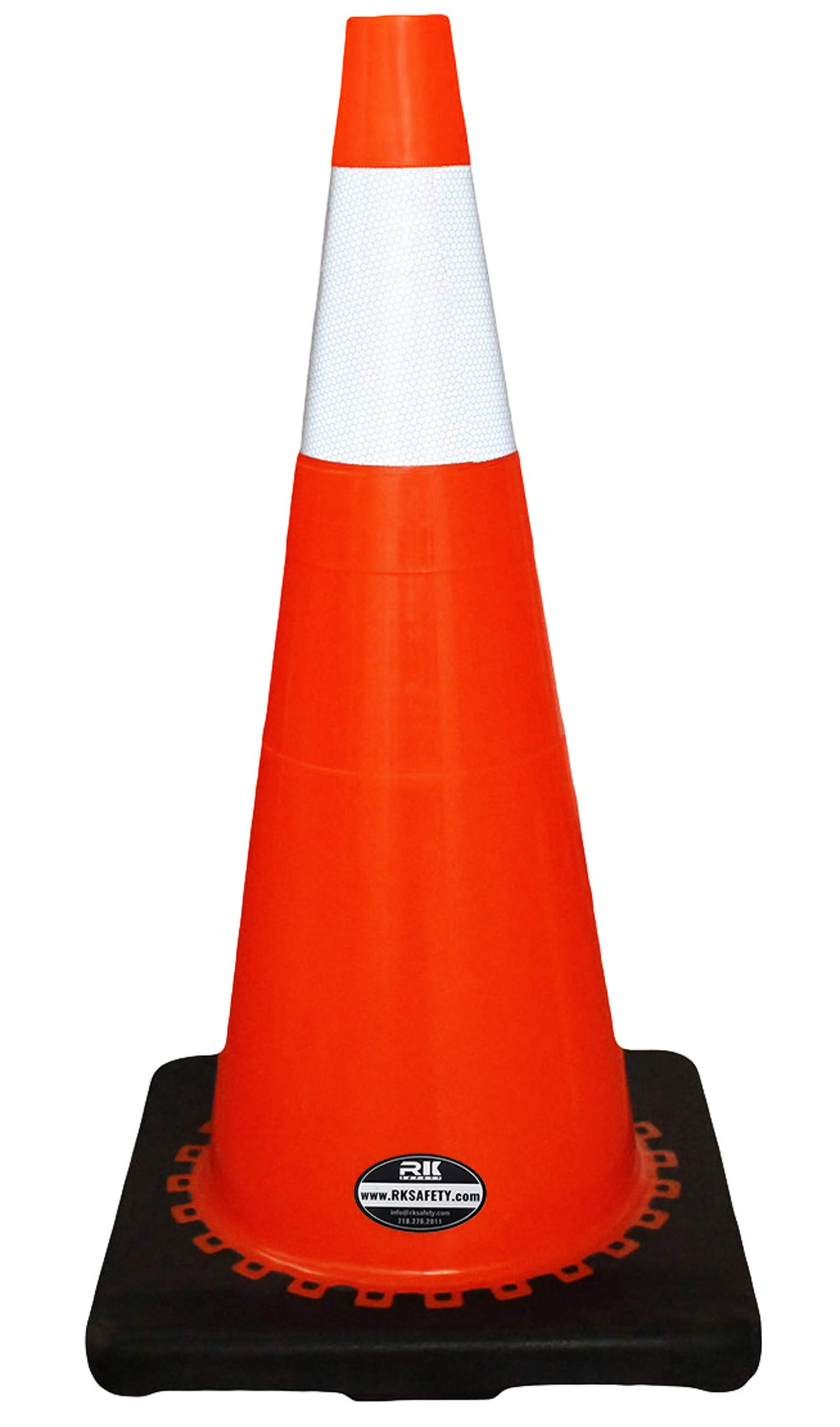 (Set of 24) 28'' RK Orange Safety Traffic PVC Cones, Black Base with One Reflective Collar