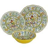 8 X Le Cadeaux Yellow Rooster – 3 Piece Place Setting, 24 Piece Set