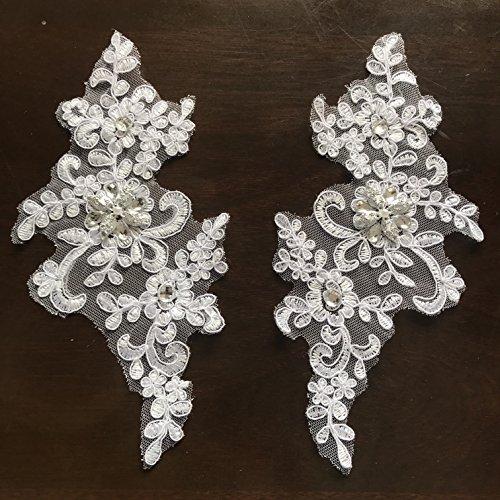 1 Pair Fine Lace Fabric Patches Embroidered Trim applique Decor Dress Decoration (White+Silver)