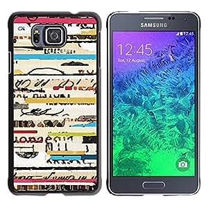 YOYOYO Smartphone Protección Defender Duro Negro Funda Imagen Diseño Carcasa Tapa Case Skin Cover Para Samsung GALAXY ALPHA G850 - líneas frescas conciertos viajes texto ticket