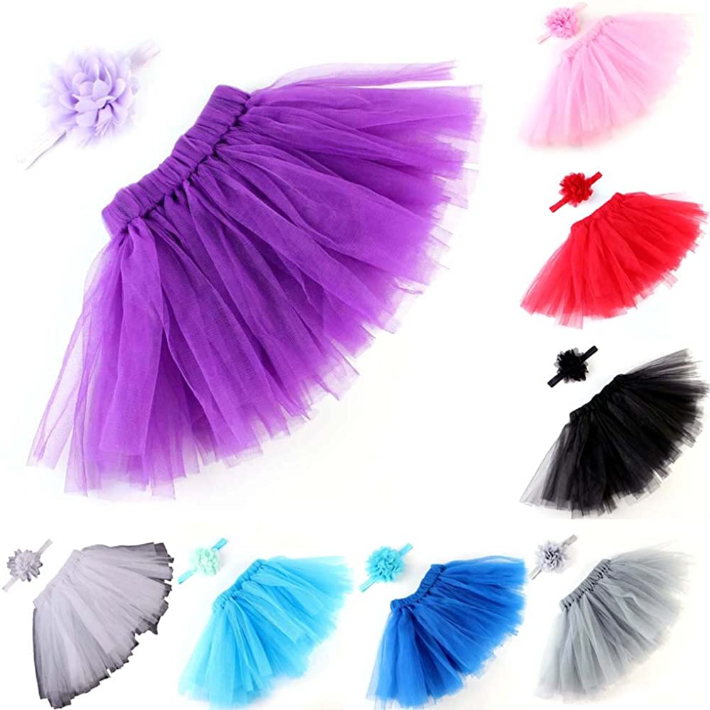 ManxiVoo Newborn Baby Girls Photo Photography Bowknot Prop Tutu Skirt Flower Headband Outfit Clothes Set