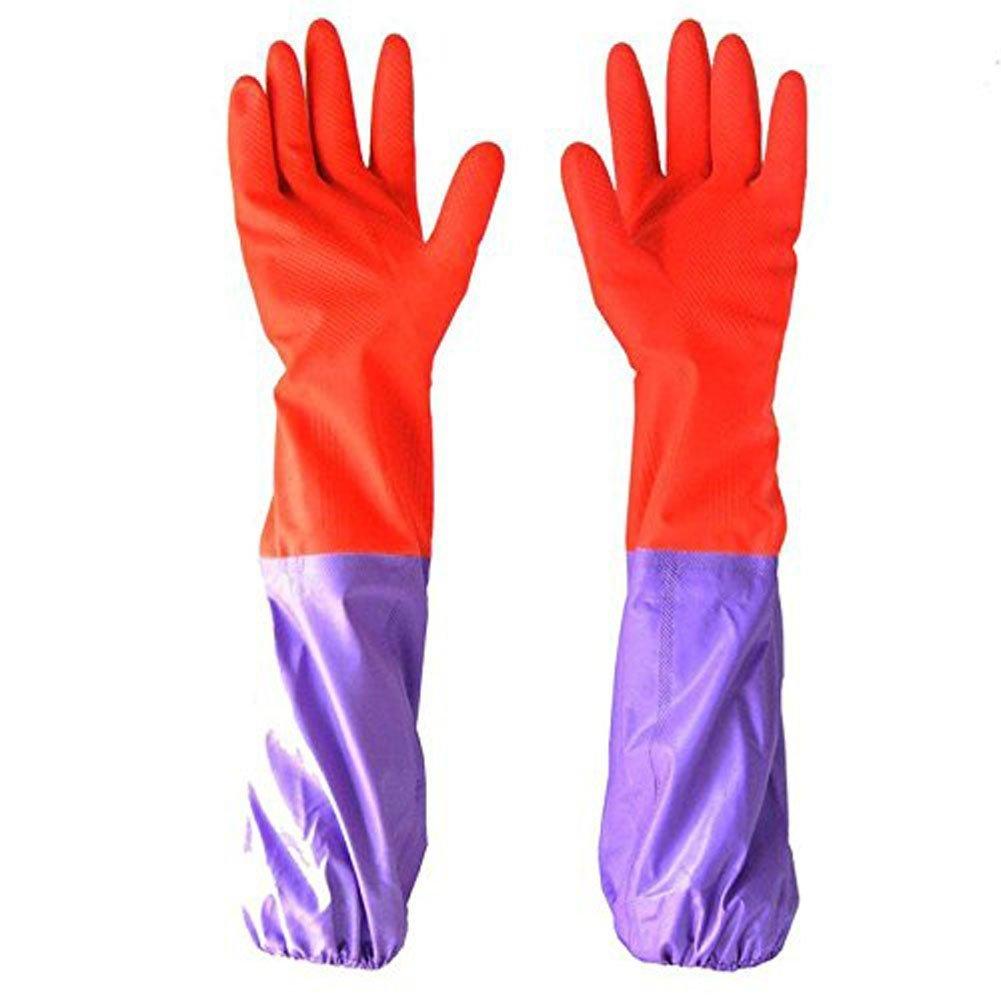 Lang Sleeve Beam Port Plus Samt Handschuhe Rutschfest Haushalt Wäschekorb Geschirrspülen Wasserdichte Handschuhe