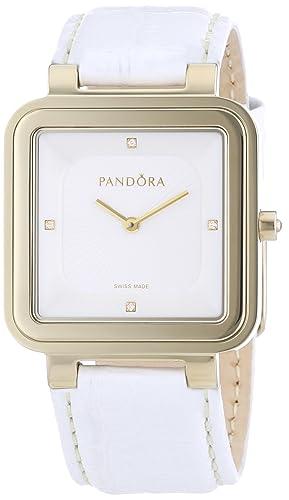 Pandora 812031WH - Reloj analógico de mujer de cuarzo con correa de piel blanca: Amazon.es: Relojes