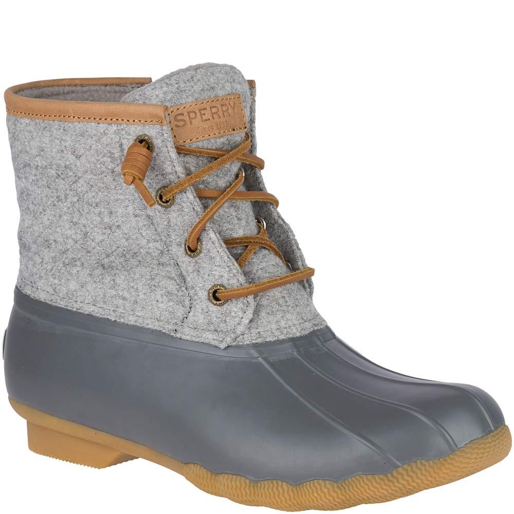 Sperry Women's Saltwater Wool Embossed Rain Boot, Dark Grey, 8 M US by SPERRY