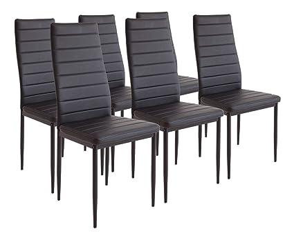 Albatros 2698 milano set di 6 sedie da pranzo nero: amazon.it