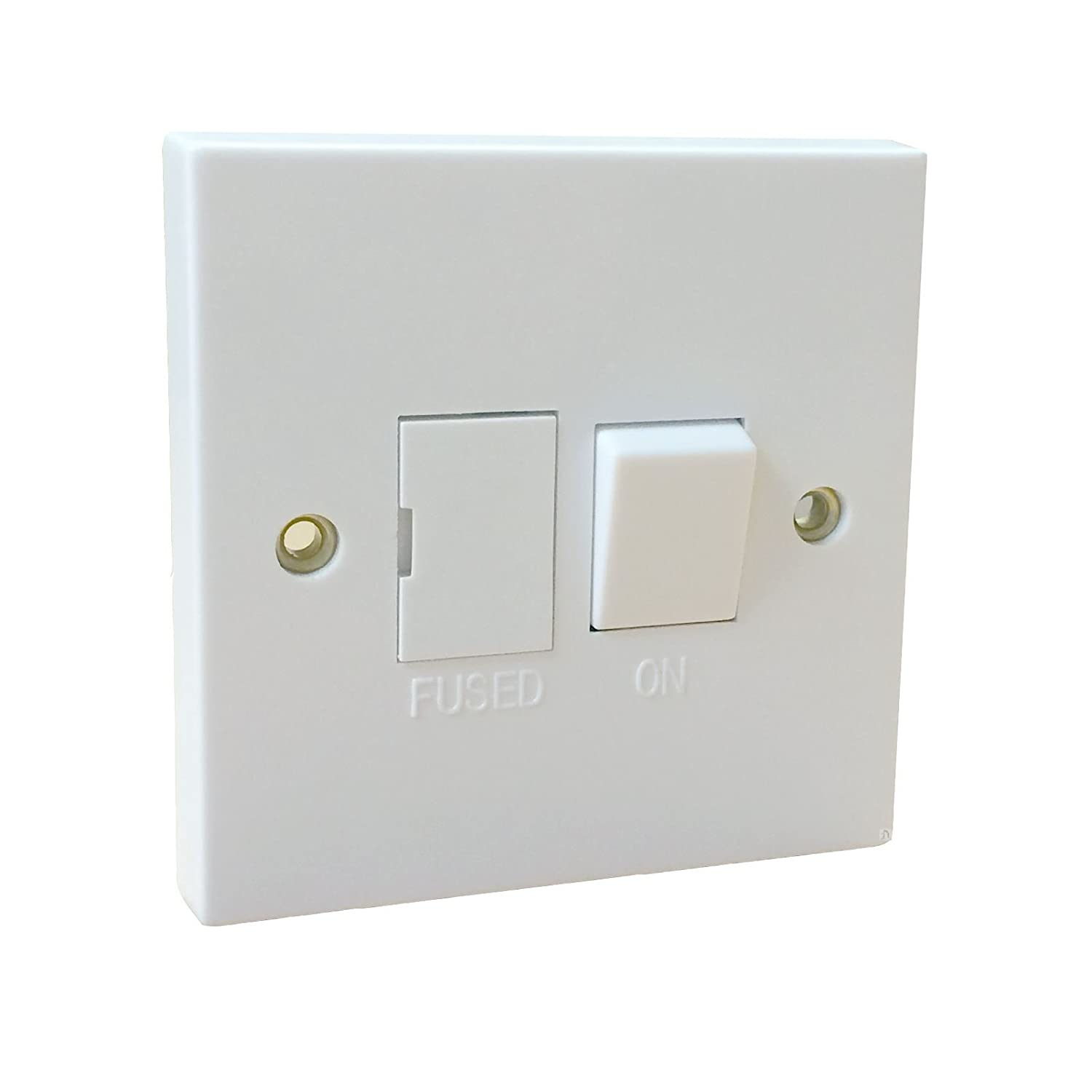 White Single Fused Switched Spur / Square Edge 1 Gang Appliance Wall Switch 13A Red and Grey
