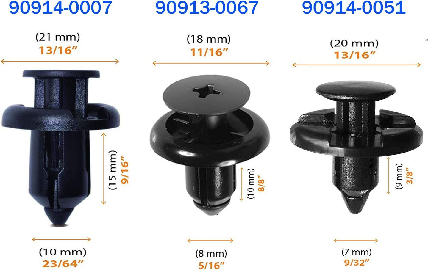 """8mm Hole Size Flange Dia 20mm Stem 20mm 100 GM Push Type Clips 5//16/"""""""