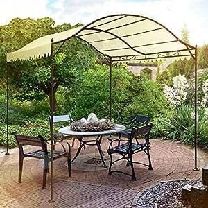 Miadomodo - Carpa de jardín / Cenador de metal para jardín o patio, Beis de la tela, 3,1/3,98/2,46 m
