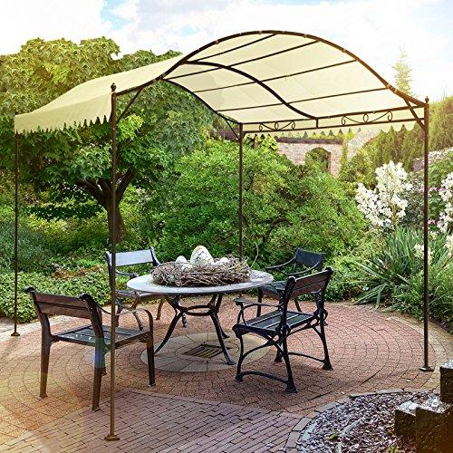 Miadomodo Garten Metall Pavillon in Beige Partyzelt aus Stahl ca. 3x4 m