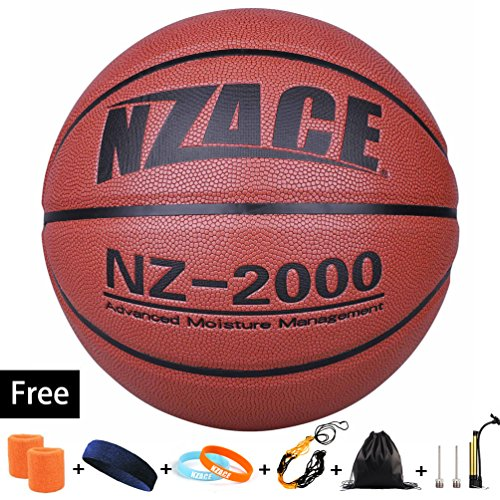 (NZACE Basketball Outdoor/Indoor Game Balls Leather High End Street Basketballs Competition Official Size 7/29.5 with Pump, Needles, Net, Waist (New Red))
