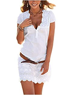 07afdcc1b91c Minetom Donna Abito Estivo Elegante Vestito Manica Corta Scollo a V  Spiaggia Partito Dress