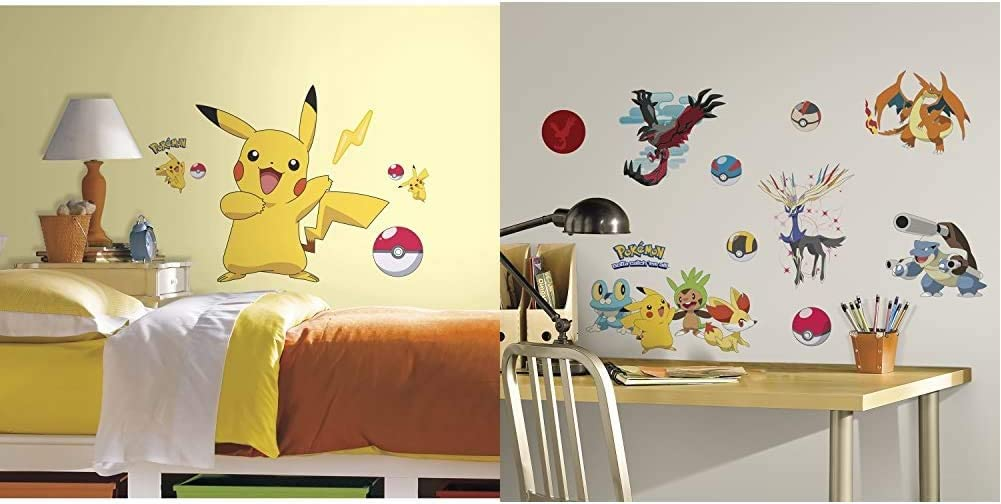 RoomMates Pokemon Pikachu Peel and Stick Wall Decals and RoomMates Pokemon XY Peel and Stick Wall Decals