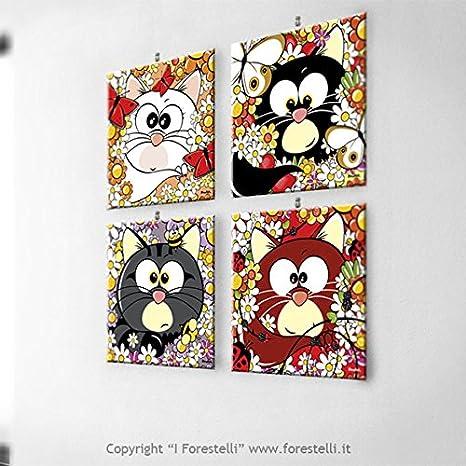 forestelli® – Cuadros para niños con I gatos (4 Cuadros)