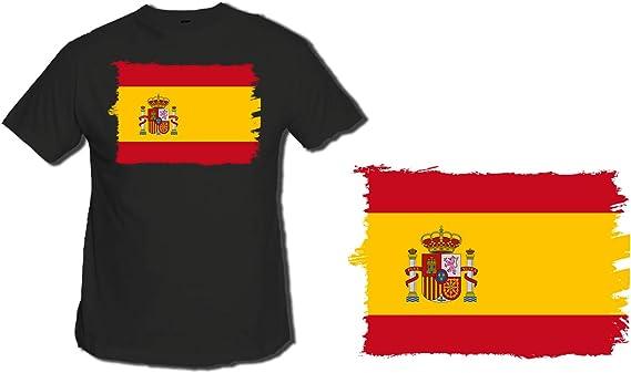 Camiseta Negra Bandera ESPAÑA Pais Unido Tshirt: Amazon.es: Ropa y ...