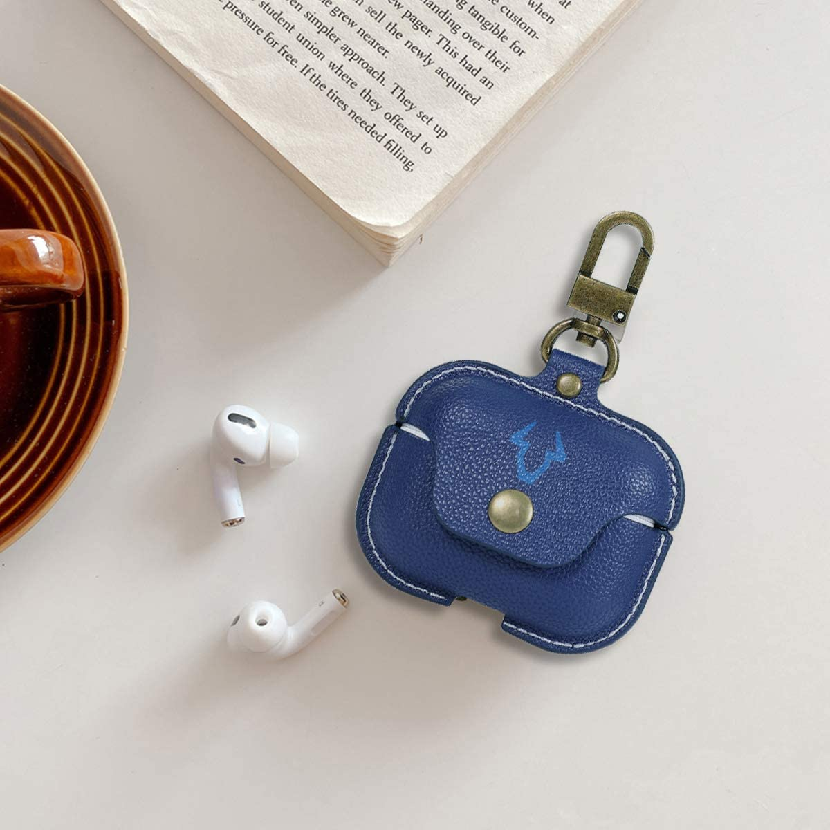 Airpods Pro Leather Case//Protective Cover,3D Luxury Fashion Ultra-Thin Designer Leather Cover with Keychain Hook,Slim-Fit,Shockproof and Anti Scratching,Support Wireless Charging.