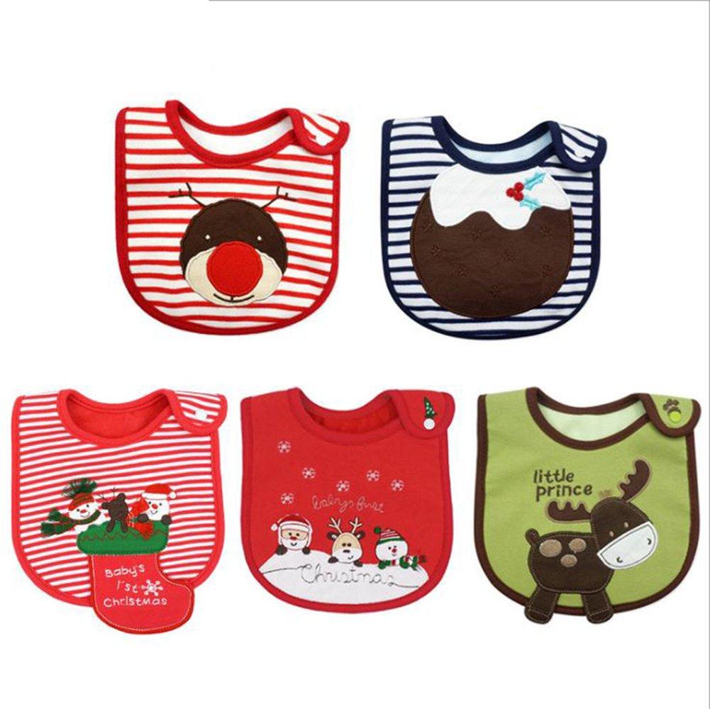 LAAT Bibs Christmas Pattern Layer Infant Toddler Baby Waterproof Saliva Towel Baby Cotton Bibs Unisex Waterproof Saliva Towel Baby Bibs