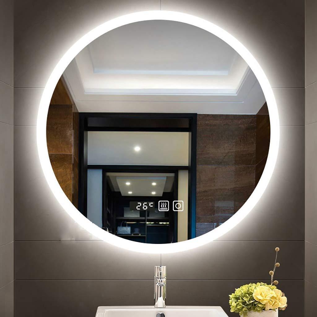Sdk LED beleuchteter runder Badspiegel moderner an der Wand befestigter Kosmetikspiegel mit Demister-Zeittemperaturanzeige 3 Size : 60CM