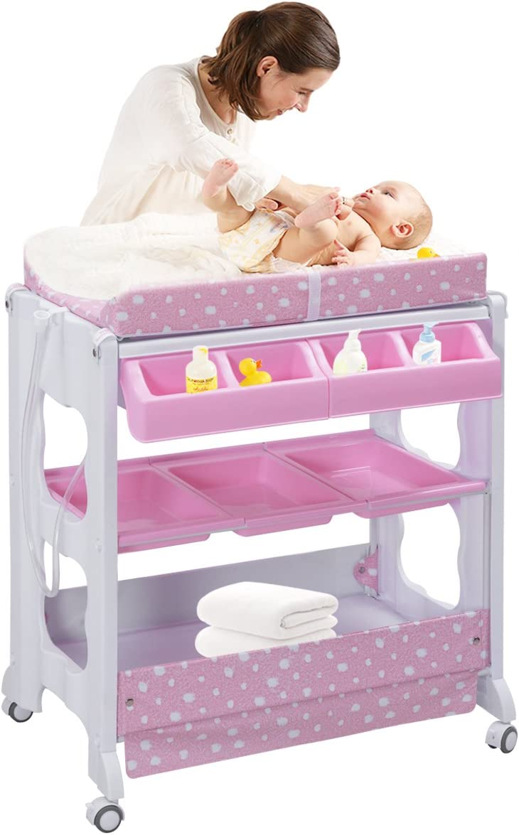 COSTWAY Cambiador de Pañales Estante para Bebé Organizador Cambiador Vestidor Bañera con Bandeja (Rosa)