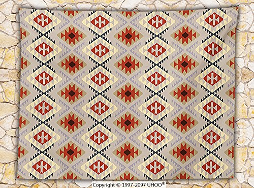 Native American Decor Fleece Throw Blanket First Nations Indian Motifs in Various Colors Traditional Tribal Pattern Ethnic Art Throw Multi